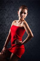 red fashion female model photo